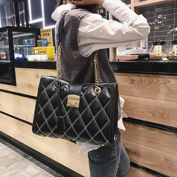 Leather Tote with Chain