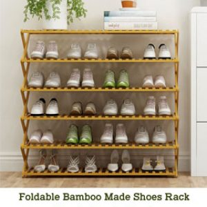 Foldable Bamboo Made Shoes Rack